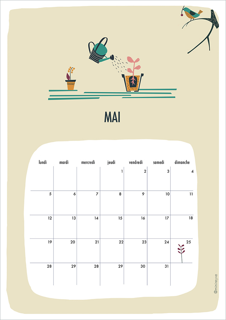 Calendar Mai : Hello mai free printable minireyve
