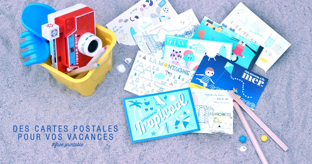 des cartes postales pour vos vacances free printable minireyveminireyve. Black Bedroom Furniture Sets. Home Design Ideas