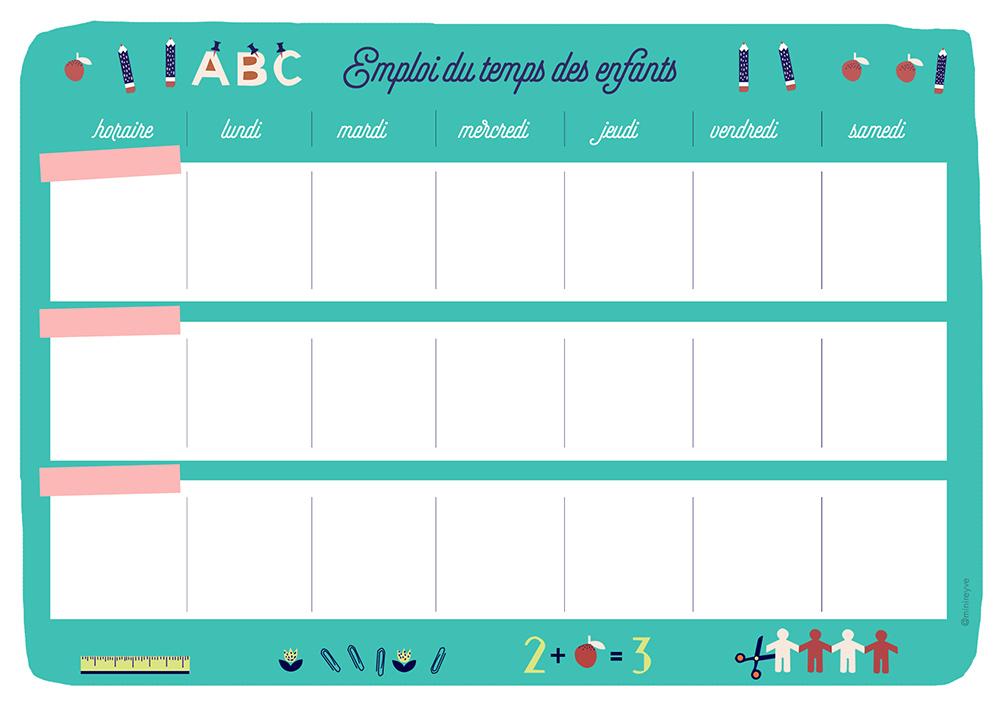 Beliebt L'EMPLOI DU TEMPS PARTAGÉ #free printable | Minireyve GP31