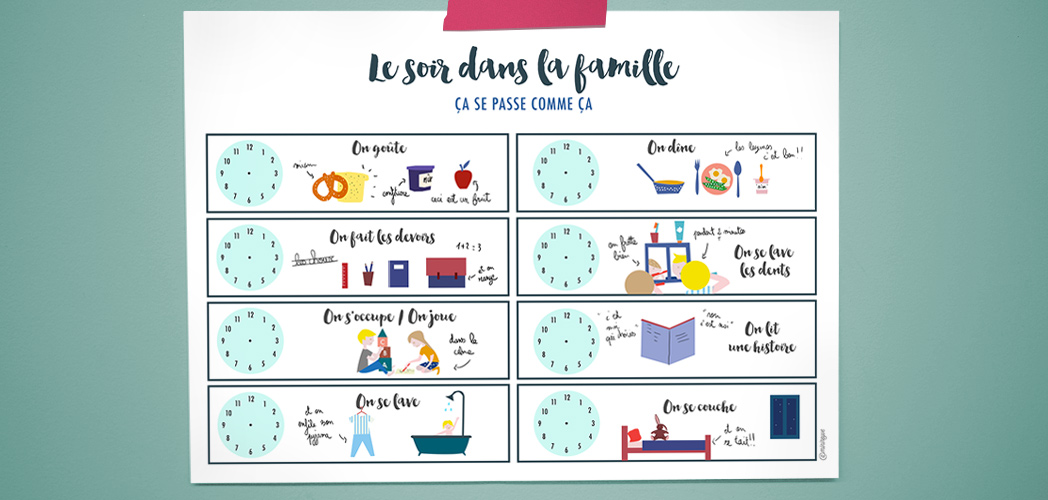Routine du soir printable minireyve for Aide organisation maison