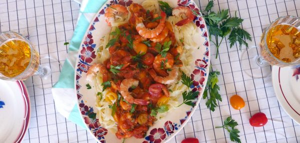 recette-pates-crevette-tomates
