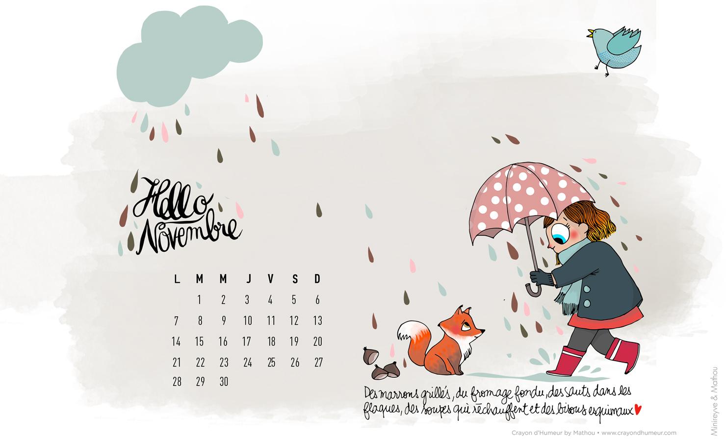 Hello novembre avec mathou minireyve for Fond ecran novembre