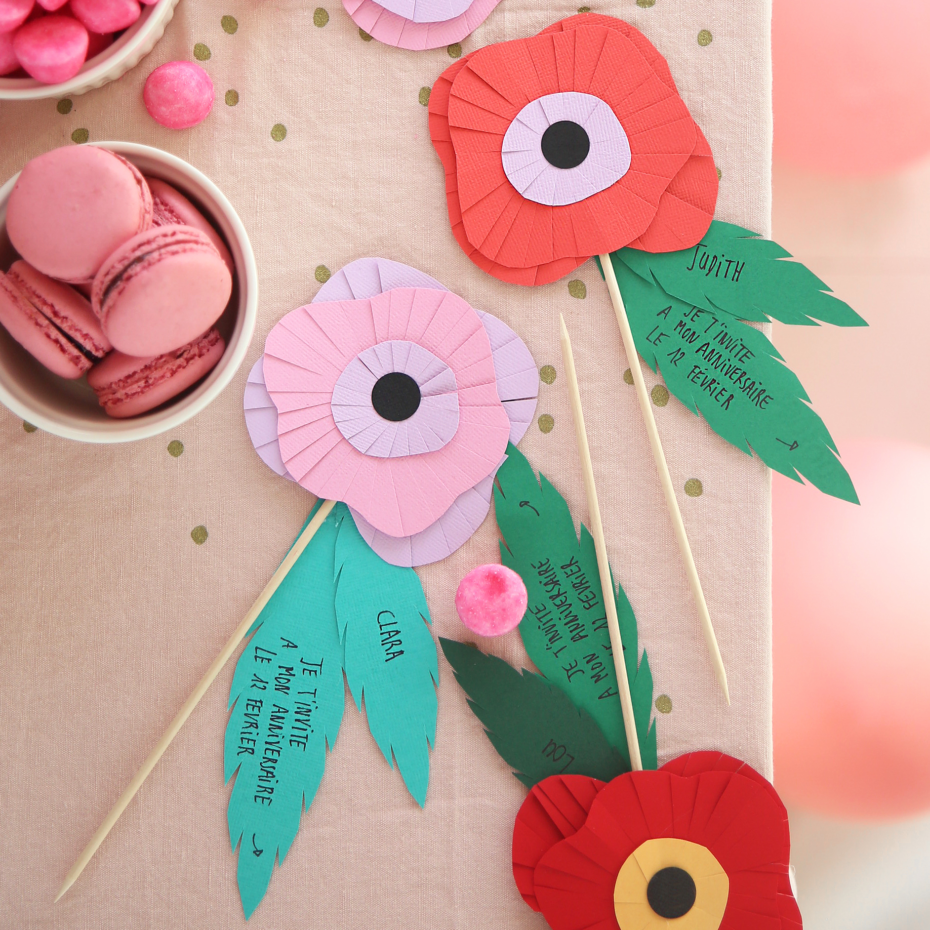 Invitation fête anniversaire fleurs